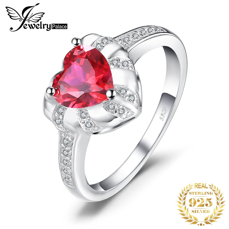 JewelryPalace Love Heart 1.86ct Created Red Ruby Engagement Rings For Women Charms 925 Sterling Silver Fashion Fine Jewelry - Slabiti