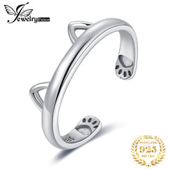 JewelryPalace Lovely Cat Ear Adjustable Open Ring 925 Sterling Silver Rings for Women Jewelry Making Fashion Jewelry Gifts - Slabiti