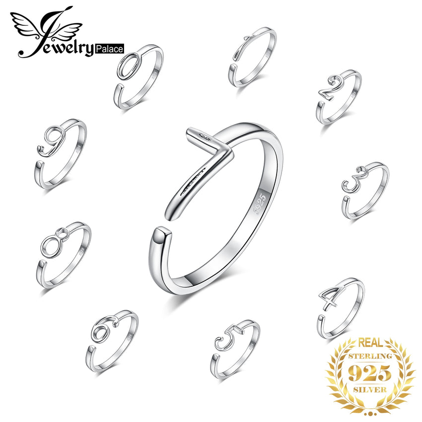 JewelryPalace Lucky Number Birthday Anniversary Rings 925 Sterling Silver Rings for Women Stackable Ring Silver 925 Jewelry - Slabiti