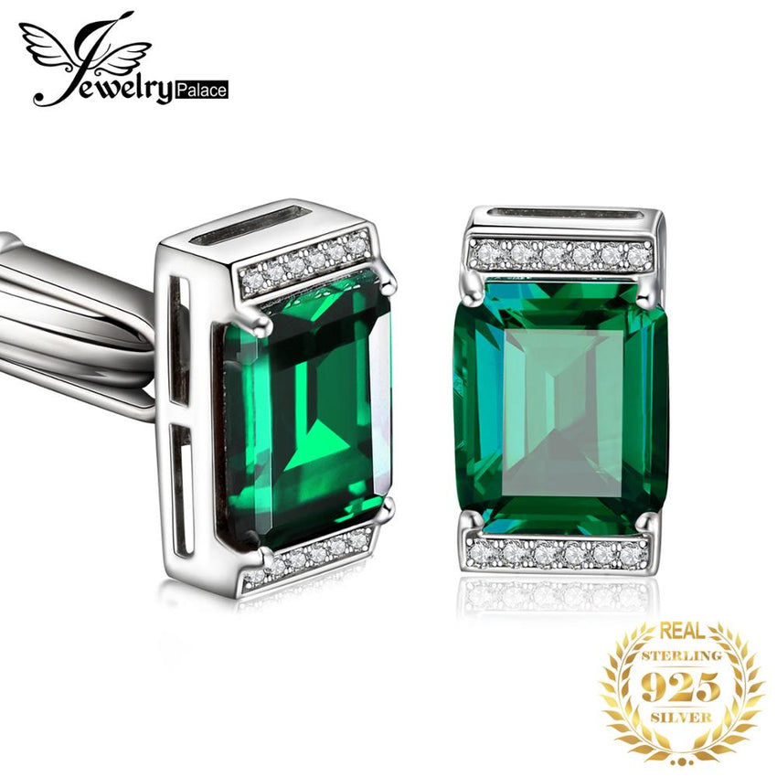 JewelryPalace Men Luxury Created Nano Russian Emerald Anniversary Wedding Cufflinks 925 Sterling Sliver - Slabiti
