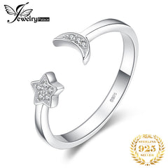 JewelryPalace Moon Star Rings 925 Sterling Silver Rings for Women Open Stackable Ring Band Silver 925 Jewelry Fine Jewelry - Slabiti