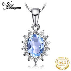 JewelryPalace Natural Blue Topaz Pendant Necklace 925 Sterling Silver Gemstones Choker Statement Necklace Women Without Chain - Slabiti