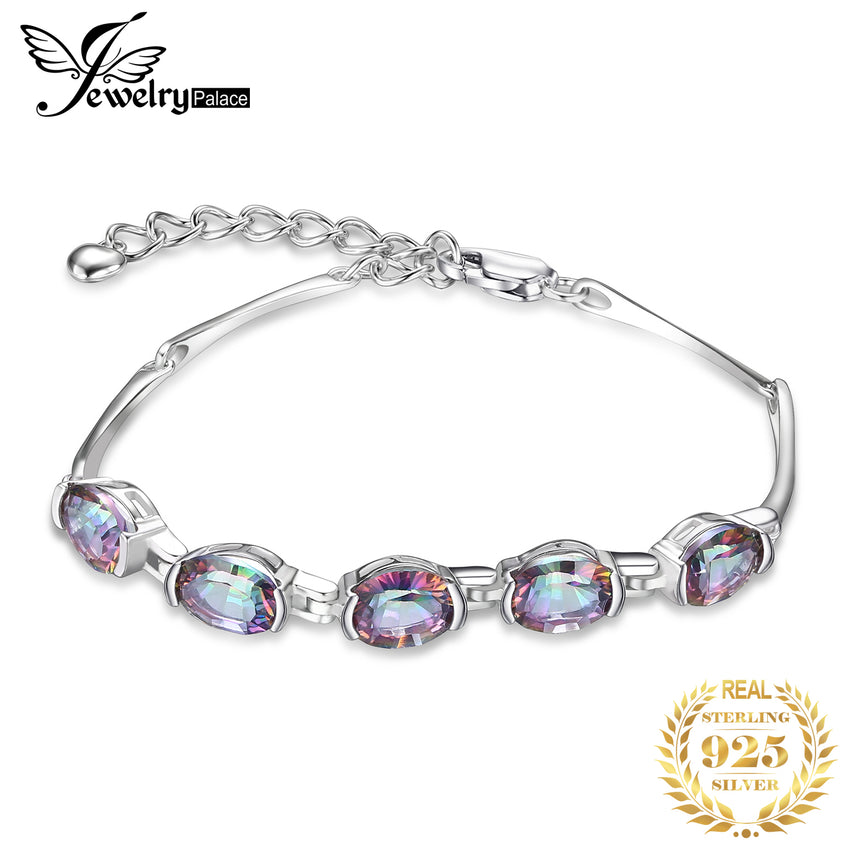 JewelryPalace Natural Mystic Topaz 925 Sterling Silver Bracelet Tennis Gemstones Bracelets For Women Silver 925 Jewelry Making - Slabiti