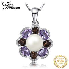 JewelryPalace New 9mm Cultured Pearl 2.6ct Smoky Quartz Amethyst Cluster Pendant 925 Sterling Silver Jewelry Not Include A Chain - Slabiti