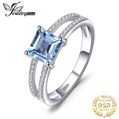 JewelryPalace Princess Genuine Blue Topaz Ring 925 Sterling Silver Rings for Women Engagement Ring Silver 925 Gemstones Jewelry - Slabiti