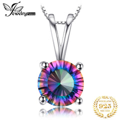 JewelryPalace Rainbow Mystic Topaz Pendant Necklace 925 Sterling Silver Gemstones Choker Statement Necklace Women Without Chain - Slabiti