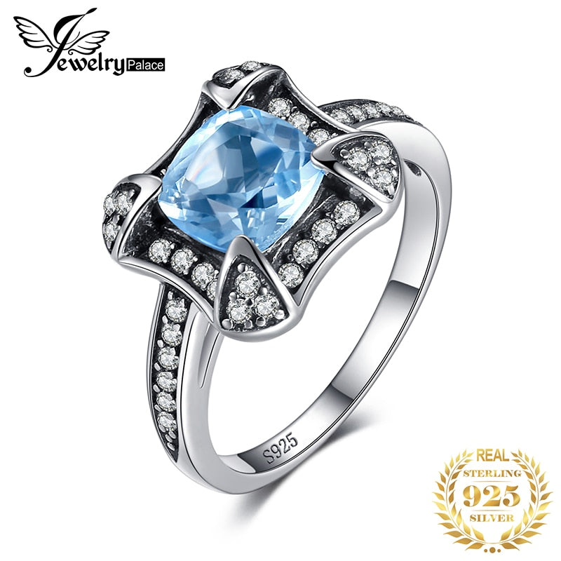 JewelryPalace Retro 1.8ct Natural Sky Blue Topaz Halo Ring For Woman Genuine 925 Sterling Silver Ring Wedding Fine Jewelry - Slabiti