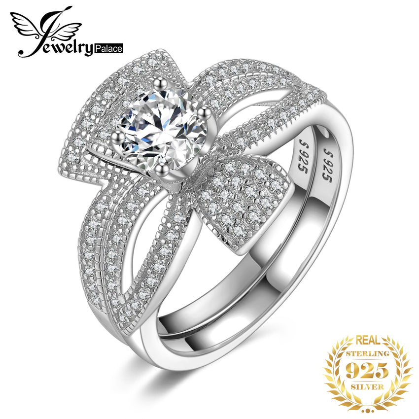 JewelryPalace Round 1ct Cubic Zirconia Flora Ribbon Bowknot Split Shank Engagement Ring Sets 925 Sterling Silver Jewelry Fashion - Slabiti