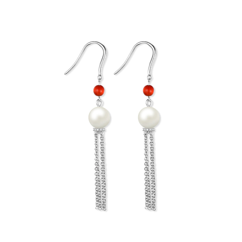 JewelryPalace Round 8mm Freshwater Cultured Pearl Red Agate Onyx Dangle Earrings 925 Sterling Silver Fine Jewelry For Women - Slabiti