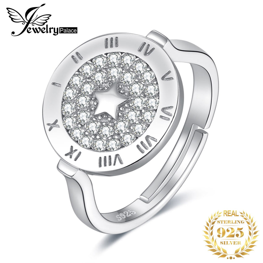JewelryPalace Round Cubic Zirconia Star Circular Etched Roman Numeral Adjustable Open Promise Ring 925 Sterling Silver Rings - Slabiti
