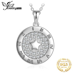 JewelryPalace Round Cubic Zirconia Star Circular Etched Roman Numeral Pendant Necklace Without Chain 925 Sterling Silver Pendant - Slabiti