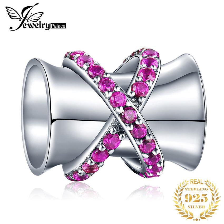 JewelryPalace Round Pink Cubic Zirconia 925 Sterling Silver Hourglass Cylinder Bead Charm Fit Bracelets Fashion Women Jewelry - Slabiti