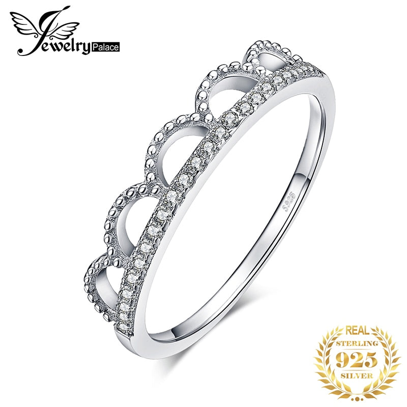 JewelryPalace Royal Queen Crown Cubic Zirconia Anniversary Promise Wedding Ring 925 Sterling Silver For Women As Beautiful Gifts - Slabiti