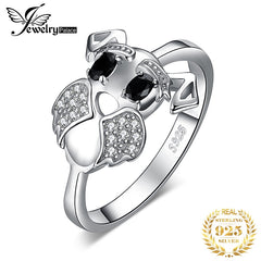 JewelryPalace Schnauzer Dog Genuine Black Spinel Ring 925 Sterling Silver Rings for Women Stackable Ring Silver 925 Jewelry - Slabiti