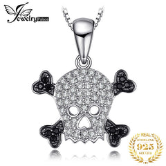 JewelryPalace Skull 0.2ct Genuine Spinel Pendant Necklace Pure 925 Sterling Silver Pendant Skeleton Jewelry Not Include A Chain - Slabiti