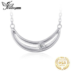 JewelryPalace Smile CZ Sterling Silver Pendant Necklace 925 Sterling Silver Chain Choker Statement Collar Necklace Women 45cm - Slabiti