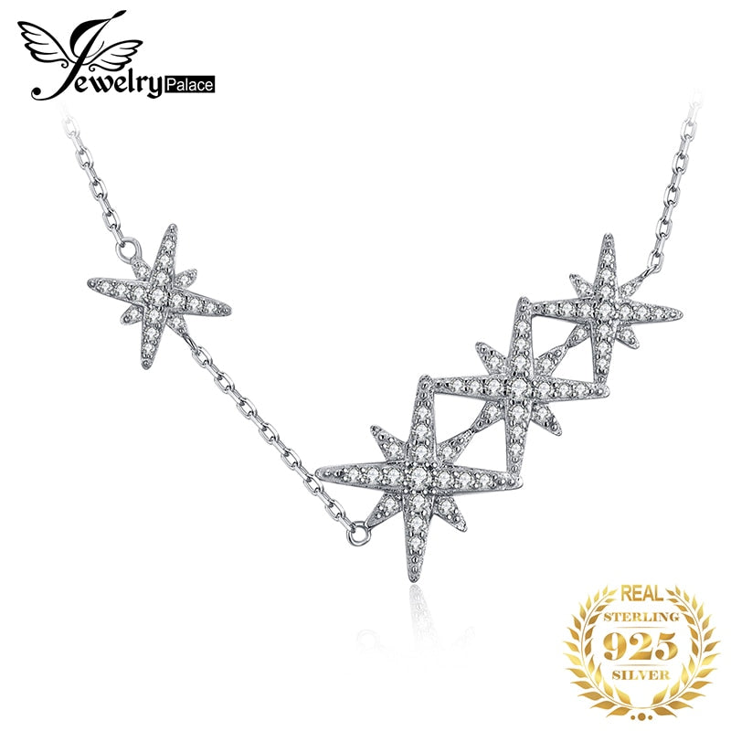 JewelryPalace Star CZ Sterling Silver Pendant Necklace 925 Sterling Silver Chain Choker Statement Collar Necklace Women 45cm - Slabiti