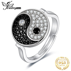 JewelryPalace Taiji Yin Yang Genuine Black Spinel Ring 925 Sterling Silver Rings for Women Statement Ring Silver 925 Jewelry - Slabiti
