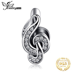 JewelryPalace Treble Clef 925 Sterling Silver Beads Charms Silver 925 Original For Bracelet Silver 925 original Jewelry Making - Slabiti