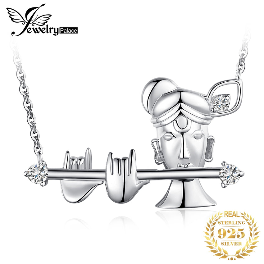 JewelryPalace Vintage Cubic Zirconia Krishna Integral Pendant Nacklace Choker 925 Sterling Silver Necklace Silver Jewelry Making - Slabiti