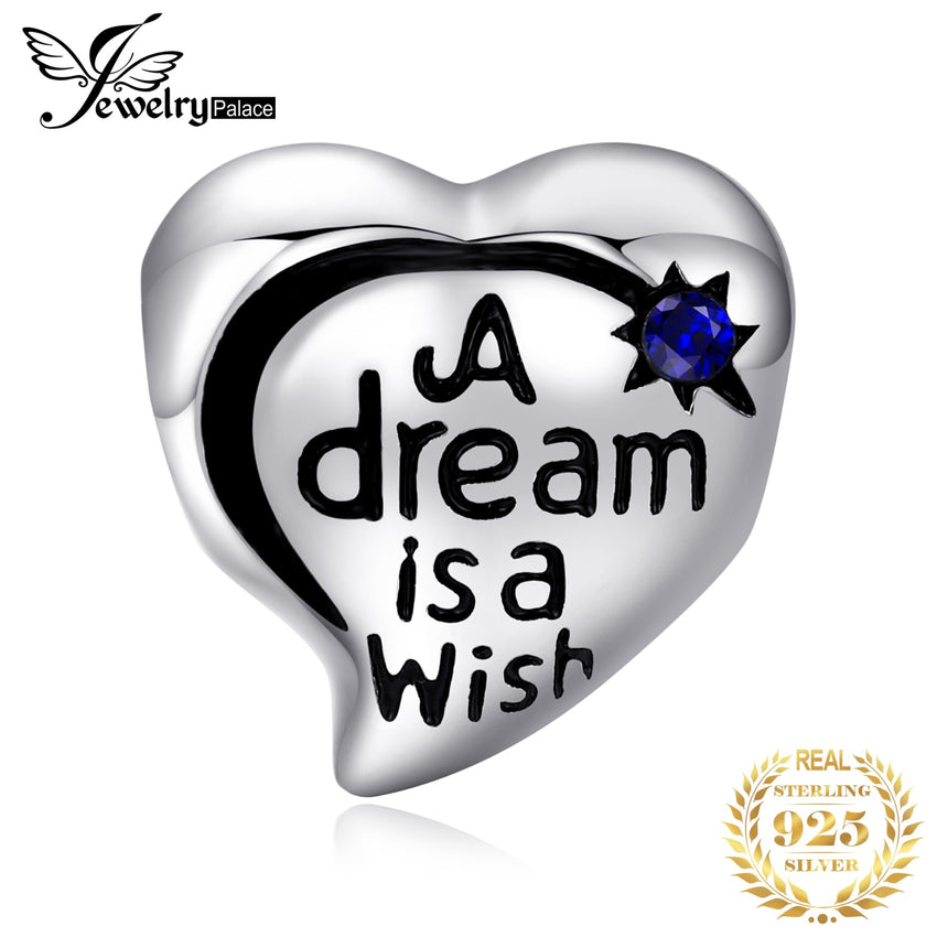 JewelryPalace Vintage Heart Created Sapphire Shooting Star Dream Catcher 925 Sterling Silver Charm Bead Fit Bracelets - Slabiti