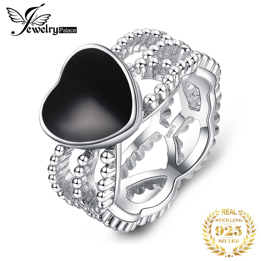 JewelryPalace Vintage Love 4.4ct Genuine Black Onyx Intertwined Band 925 Sterling Silver Ring For Women 2018 New Hot Sale - Slabiti