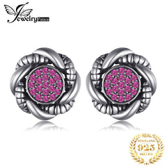 JewelryPalace Vintage Round Created Red Ruby Pave Stud Earrings 925 Sterling Silver Wedding Fine Jewelry  New Arrival - Slabiti