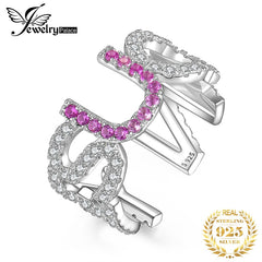 JewelryPalace Yes U Can Created Pink Sapphire Ring 925 Sterling Silver Rings for Women Party Stackable Ring Silver 925 Jewelry - Slabiti