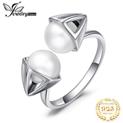 Jewelrypalace 0.4ct Double Round Shape Cultured Pearl Open Ring 925 Sterling Silver Fine Jewelry Trendy Finger Rings For Women - Slabiti