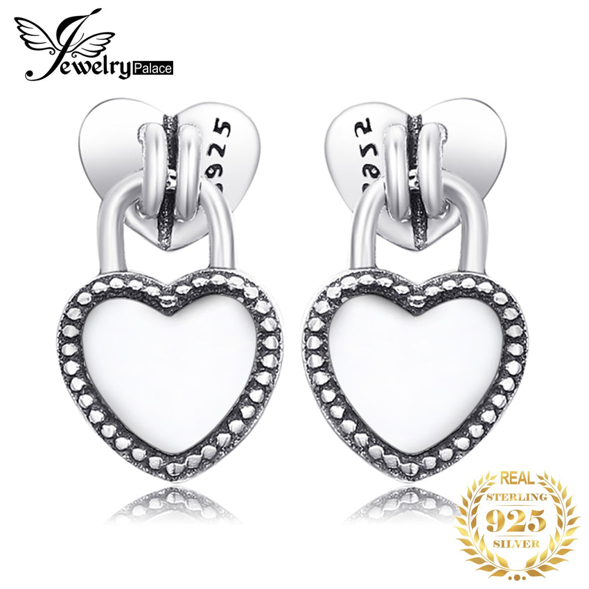 Jewelrypalace 925 Sterling Silver Earrings Pure Heart Stud Earrings Love Fashion Jewelry Women Gifts for Her Anniversary Bridal - Slabiti