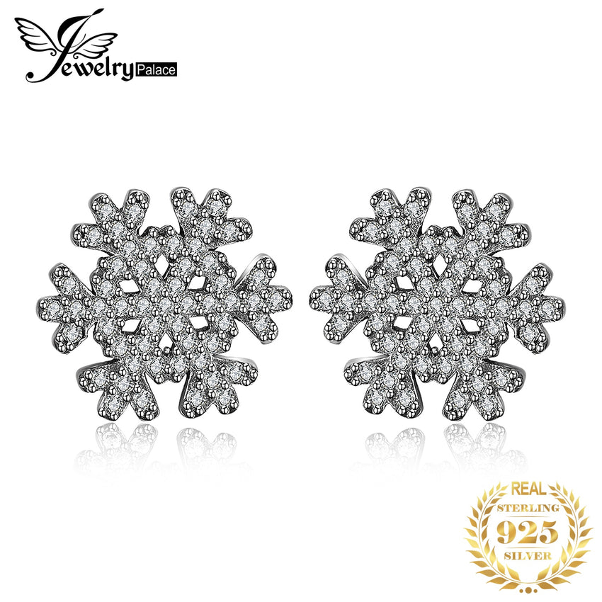 Jewelrypalace 925 Sterling Silver Earrings Stud Earrings Winter Surprise Snowflakes CZ Cute Unique Design Wedding Jewelry - Slabiti
