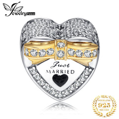 Jewelrypalace 925 Sterling Silver Marry Me Gold Plated Bowknot Black Murano Glass Heart Beads Charms Fit Bracelets Gifts For Her - Slabiti