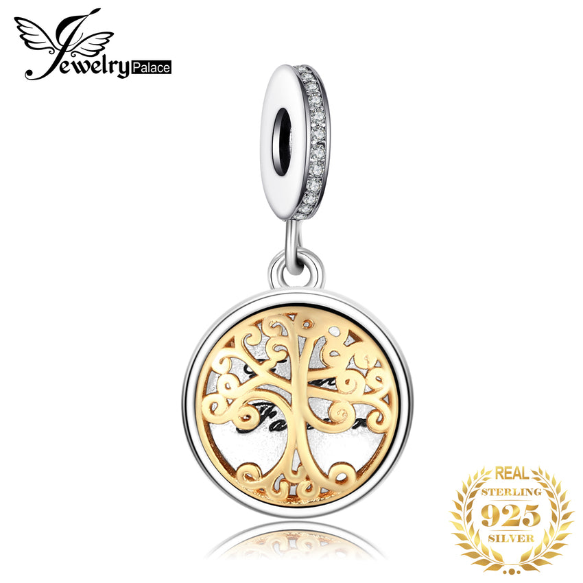 Jewelrypalace 925 Sterling Silver Photo Frame Pendants Charms Beads fit Bracelets Gold Family Tree Fashion DIY Jewelry for Women - Slabiti