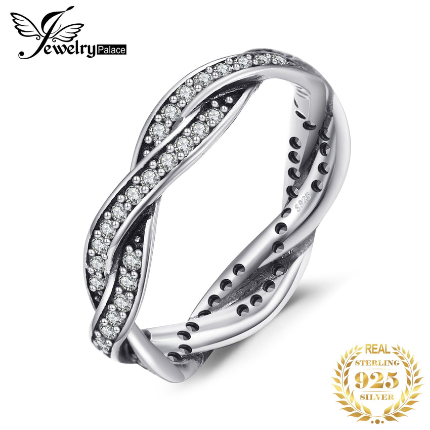 Jewelrypalace 925 Sterling Silver Rings Cubic Zirconia Infinity Wedding Band Bridal Jewelry New Arrival Gifts for Her Fashion - Slabiti