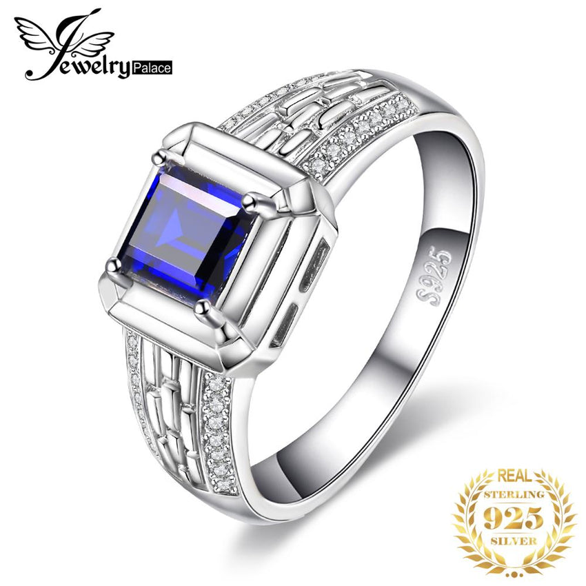 Jewelrypalace Luxury Men's Created Sapphire Anniversary Engagement Wedding Engagement Ring 925 Sterling Silver - Slabiti