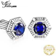 Jewelrypalace Men's Created Sapphire Anniversary Engagement Wedding Cufflinks  925 Sterling Silver Men's Jewelry Fashion Gifts - Slabiti
