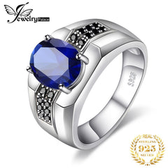 Jewelrypalace Men's Created Sapphire Anniversary Engagement Wedding Ring 925 Sterling Silver - Slabiti