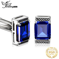 Jewelrypalace Men's Created Sapphire Black Spinel Anniversary Engagement Wedding Cufflinks 925 Sterling Silver - Slabiti
