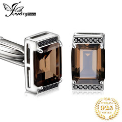 Jewelrypalace Men's Natural Smoky Quartz Black Spinel Anniversary Wedding Cufflinks 925 Sterling Silver - Slabiti