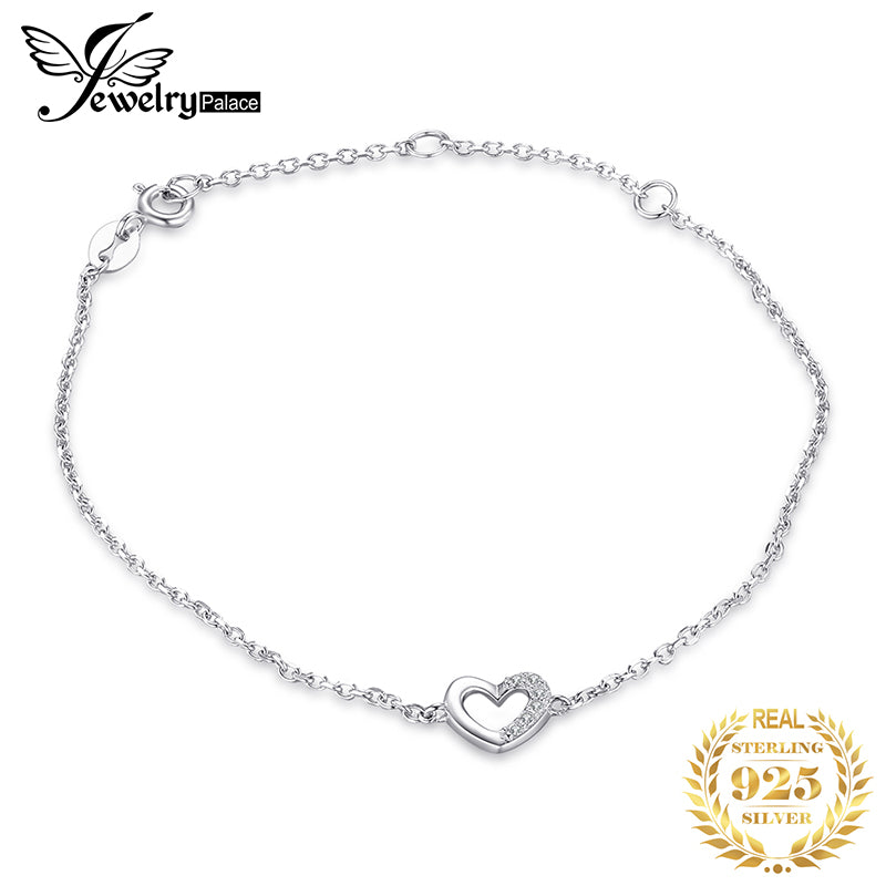 JewerlyPalace Heart Love Bracelet CZ 925 Sterling Silver Chain Bangles Bracelets For Women Silver 925 Jewelry Making Organizer - Slabiti