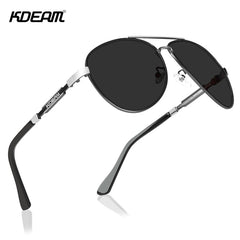 KDEAM Cat.3 Polarized Sunglasses Men Pilot 62mm Lens Designer Driving Sun Glasses with Zipper Case - Slabiti
