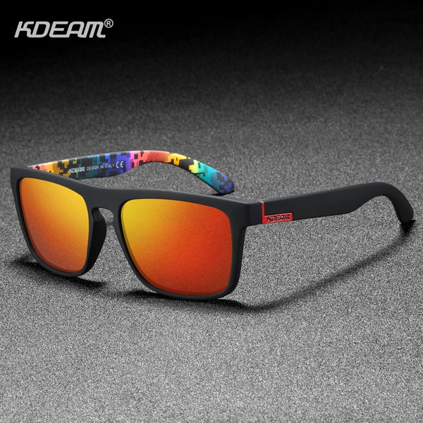 KDEAM Polarized Designer Square Sunglasses Men or Women Elastic Paint Frame Mirror Sun Glasses 17 Colors Available - Slabiti