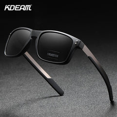 KDEAM Rectangular Polarized Sunglasses Men Outdoor Driving Sun Glasses Man TR90 Flexible Frame Mix Stainless Steel Temple - Slabiti