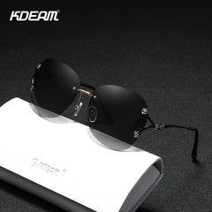 KDEAM Rimless Shades Polarized Sunglasses for Women Fashion Brand New 2020 Gradient  Sun Glasses Lady - Slabiti