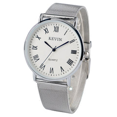 KEVIN Simple Men Watch Mesh Stainless Steel Mesh Band Quartz Men's Wristwatches Roman Numerals Blue Analog for Unisex Clock - Slabiti
