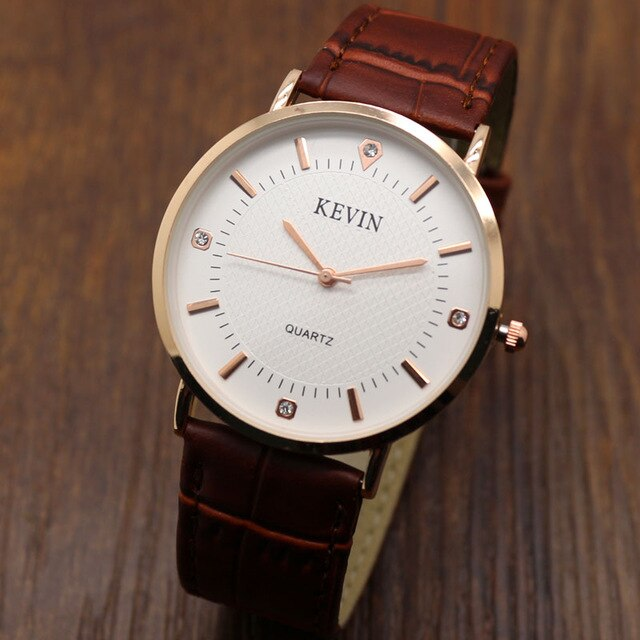 KEVIN Simple Style Elegant Stainless Steel Leather Band Quartz Wrist Watch Men Watches Relogio Men's Male Clock Gift W090201-3 - Slabiti