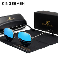 KINGSEVEN 2019 Classic Reflective Sunglasses Men Hexagon Retro Sun glasses Stainless Steel Eyewear Oculos Gafas De Sol Shades - Slabiti