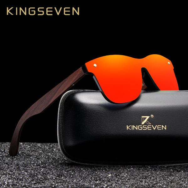 KINGSEVEN 2019 Handmade Walnut Wooden Eyewear Polarized Mirror Sunglasses Men Women Vintage Design Oculos de sol masculino UV400 - Slabiti