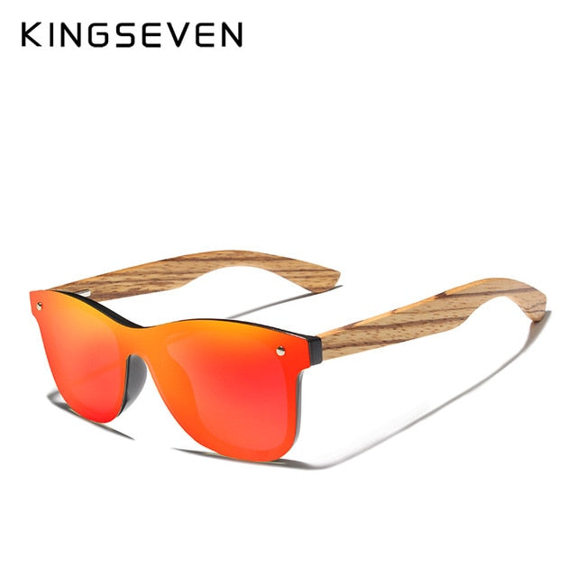 KINGSEVEN 2019 Polarized Square Sunglasses Men Women Zebra Wooden Frame Mirror Flat Lens Driving UV400 Eyewear - Slabiti