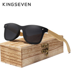 KINGSEVEN 2019 Real Bamboo Sunglasses Wood Polarized Wooden Glasses UV400 Sunglasses Brand Wooden Sun Glasses With Wood Case - Slabiti